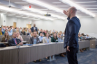 Best-selling author Adam Grant delivers the keynote address at the 2018 Center for Leadership and Organizational Effectiveness (CLOE) conference. Photo: Tom Wolf