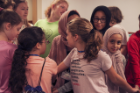 During one Girl Tech Day activity, participants held hands and had to figure out how to untangle themselves and form a circle, without letting go of one another. Photos: Destiney Plaza