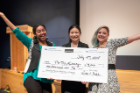 From left, MBA student Fellows Sonya Tareke, student researcher Qiuyi Zhang and MSW student Melissa Cirina took second place in the Pitch for a Cause for their growth plan for the University Heights Tool Library.
