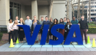 UB students and alumni outside of Visa in Silicon Valley.