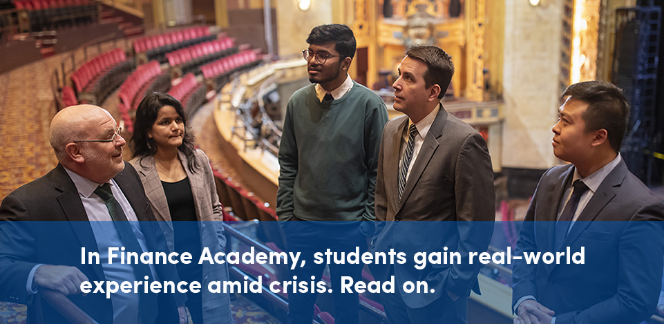 Finance Academy team of students at Shea's Theater. Links to article in blog about how Finance Academy provides real life action learning