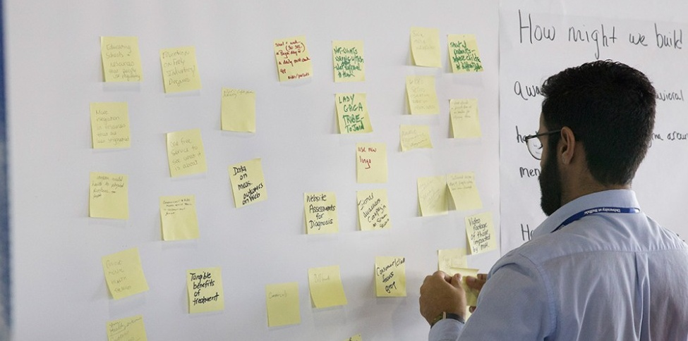 Photo of a man at a white board with post-it notes