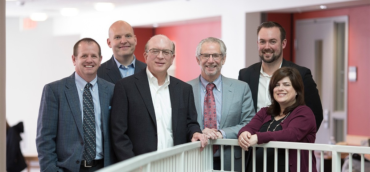 One board of directors included the following alumni, from left: William Grieshober Jr., Michael Keane, Joseph Kuchera, Michael Cropp, MD, Adam Pratt, and Laura Berrady. Photo: Tom Wolf.