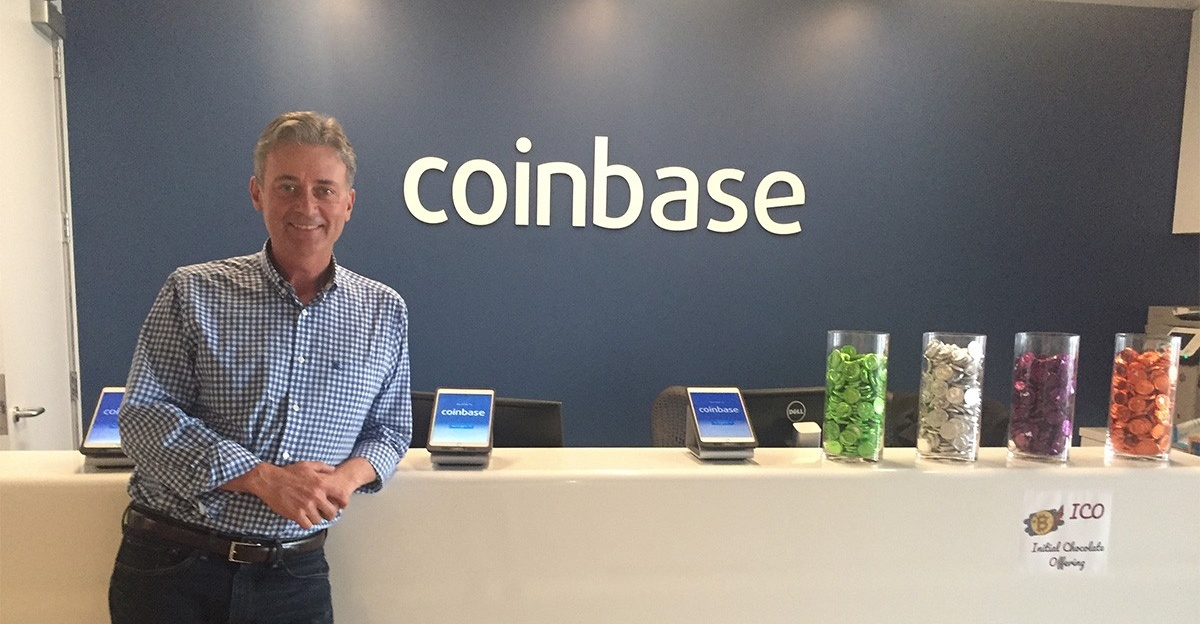 Tim Laehy, BS '84, MBA '85, at the Coinbase offices in San Francisco.