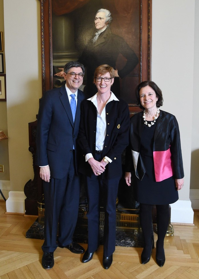 Hamm, center, in 2016 with Jacob J. Lew and Sarah Bloom Raskin, then secretary and deputy secretary, respectively, at the Treasury.