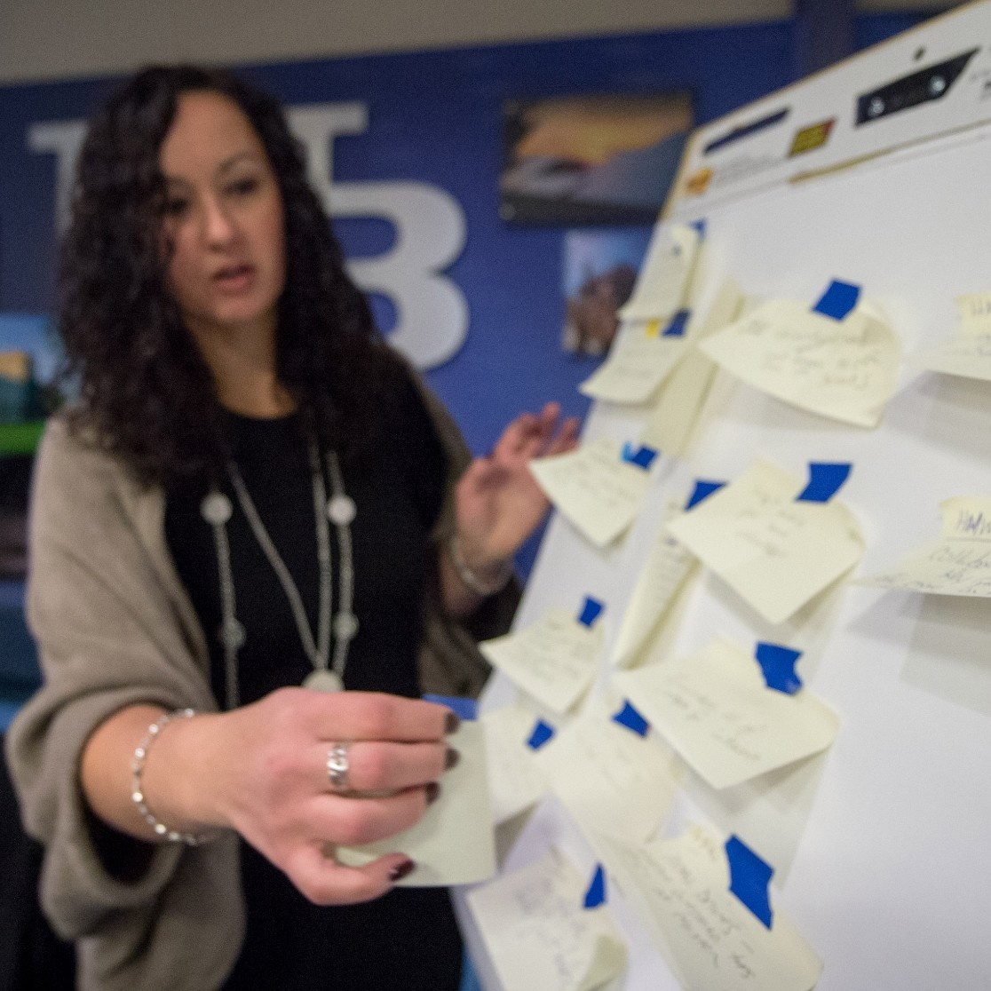 Hadar Borden, program director at Blackstone LaunchPad, facilitates an exercise to brainstorm ideas.