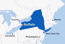 Map of Western New York with Buffalo indicated.