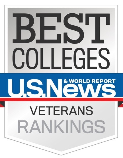 "U.S. News & World Report logo with text that reads ""Best Colleges Veterans Rankings""."