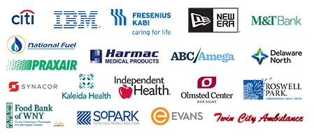 A cluster of logos of companies who are our Corporate Champions. Logos included are for Citi, IBM, New Era, M and T Bank, Praxair, National Fuel, Kalieda Health, Independent Health, Evans Bank, the Olmstead Center for Sight and other logos.