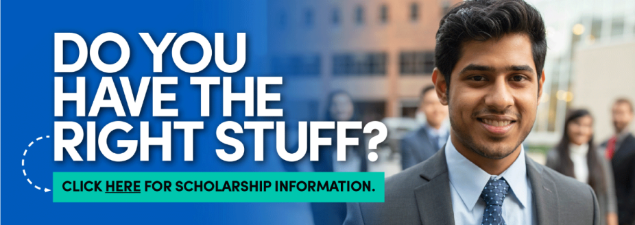 Do you have the right stuff? Click here for scholarship information. Link goes to page with scholarship information.