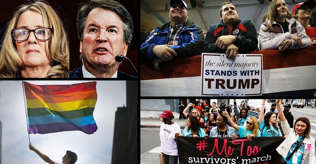 Graphic representing divisive issues in society, including the Kavanaugh hearings, Trump campaign, gay marriage and #MeToo.