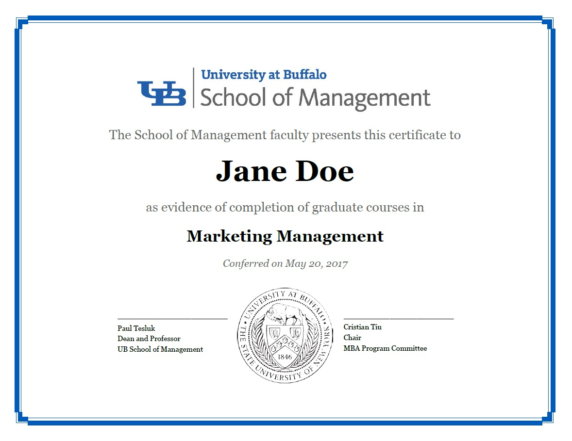 Certificate of Completion for MBA concentration