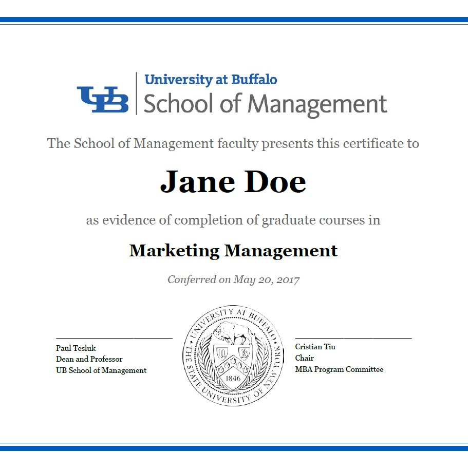 Certificate of Completion for MBA concentration.