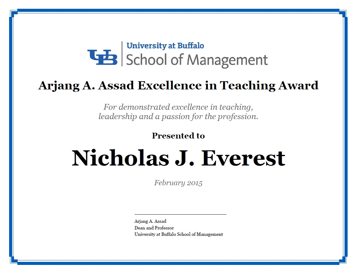 Award certificate for Arjang A. Assad Excellence in Teaching Award