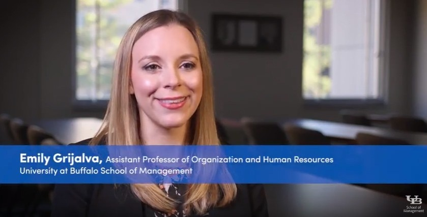 Emily Grijalva, assistant professor of organization and human resources, presents her research in a two-minute video.
