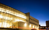 Alfiero Center at night.