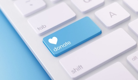 Donate button on a keyboard.