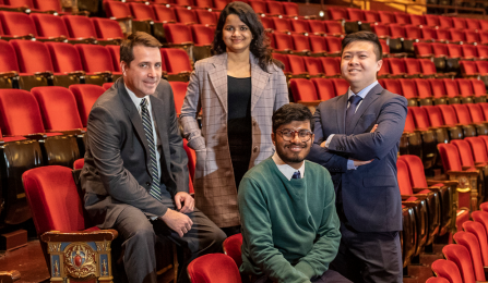 MS Finance students Fernando Lemonje Westrupp, Turya Vardhan, Roshit Badjatiya and Guodong Huang inside the magnificent Shea's Performing Arts Center.