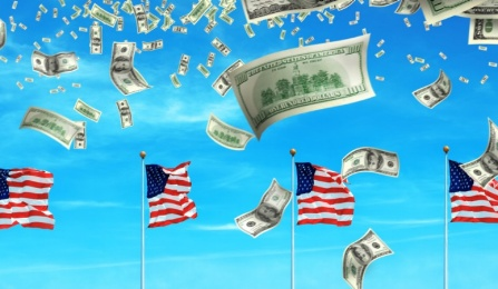 American flags with money falling from the sky.