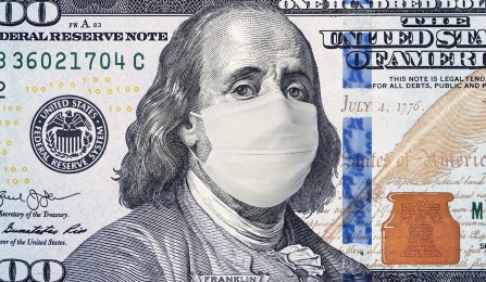 $100 bill with Benjamin Franklin wearing a coronavirus mask.