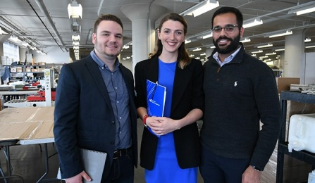 Photo of Daniel Franasiak, MBA '18, Alexandra McLeod, MBA '17, and Adhiraj Singh Rathore, MBA '17, at Diversified Labor Solutions.