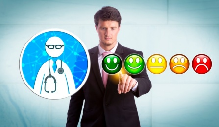 Business person selects rating for a doctor.