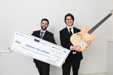Ryan Jaquin and Shane Nolan, winners of the 2018 Henry A. Panasci Jr. Technology Entrepreneurship Competition for their company, Bitcrusher. Photo: Nancy J. Parisi.