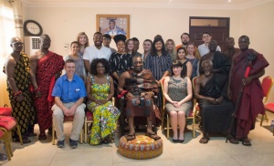 UB students and faculty with the chief and village elders from the Mamfe community in Ghana.