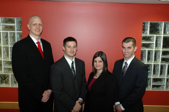 From left, Mark Bortz, MBA '13; Ryan McGraw, MBA '13; Michelle Piaia, MBA '13; and Christopher Maugans, JD/MBA '13.