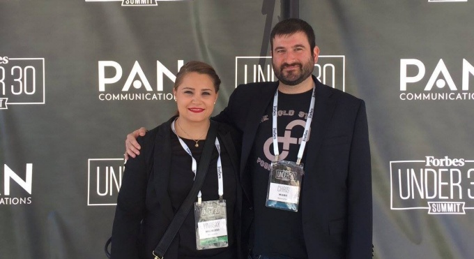 UB MBAs and MemoryFox co-founders Lindsay Macaluso and Chris Miano at the Forbes Under 30 Summit in Boston.