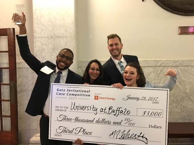 MBA students celebrate taking third place at Pitt invitation competition
