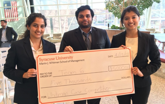 Winners of the 2018 Whitman Case Competition, from left: Vaishnavi Ravichandran, Ashish Poojari and Mugdha Patil.