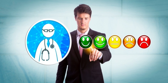 Man giving online rating to a physician.