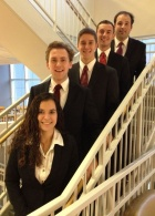 From left, the winners of the 2014 PwC Challenge are undergraduates Brittany Popovski, Spencer Gates, Chris DiDuro, Dominic Eusanio and Gary Vinette.