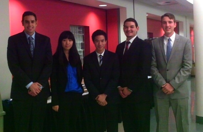 (From left): Philip Silvestri, Shuang Zhang, Bryan Kao, Paul Krisk, and Alex Killian.