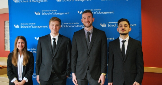 Winners of the inaugural School of Management Undergraduate Case Competition: Ashley Silva, Stephen Southworth, Justin Rooney and Milad Ghanatios.