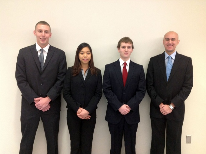 From left, Jeffrey Kohnke, Li Yi Tan, Daniel O'Connor and Daniel Yanega.