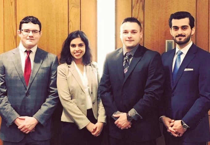 The University at Buffalo team (left to right). Stephen Joyce, Niharika Malik, Robert Caggiano, Naeim Khanjani.