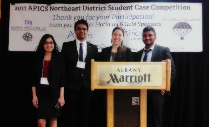 The University at Buffalo team (left to right). Ashwani Gupta, Mandar Jewlikar, Ellen Ragus and Prashanth Kumar