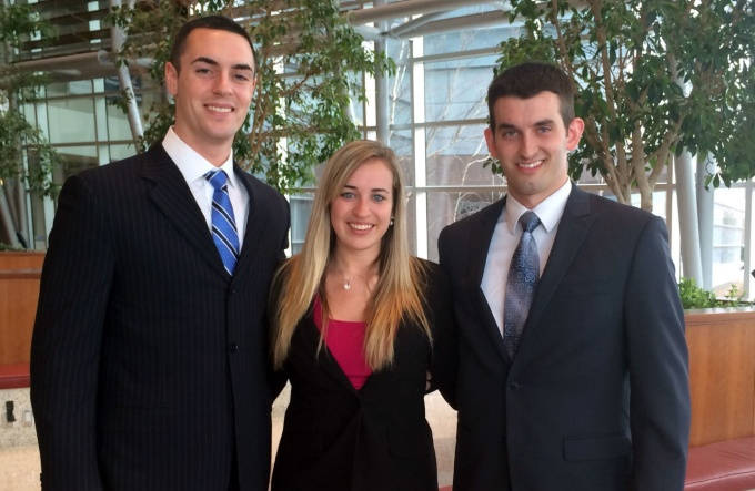 From left, Michael Pinnola, MBA '15; Christi Lundahl, MBA '14 and Chris Maugans, JD/MBA '14. (James Finlay, MBA '14 could not attend the final presentation.)