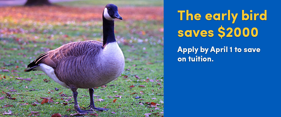 The early bird saves $2000. Apply to the Executive MBA program by April 1 and save on tuition.