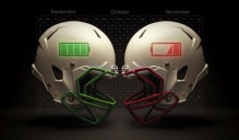 Football helmets clashing.