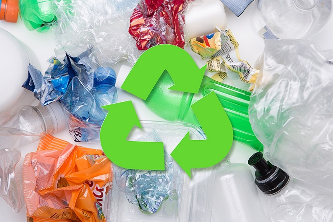 Assorted plastic with recycling symbol.